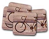 Posavasos con diseño de bicicleta–juego de 4posavasos ideal como regalo para nuevo hogar presente o regalo de inauguración de la casa.