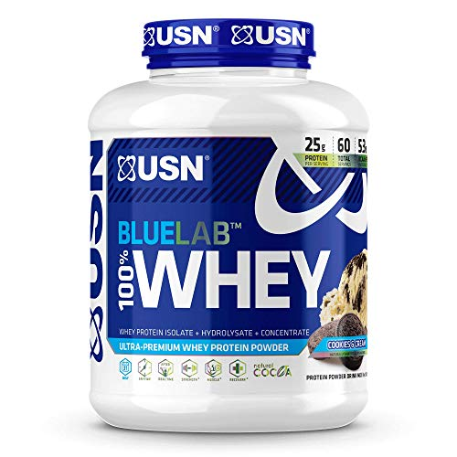 USN Supplements BlueLab 100 Percent Whey Protein Powder - Keto Friendly, Low Carb and Low Calorie, Cookies & Cream, 4.5 Pound