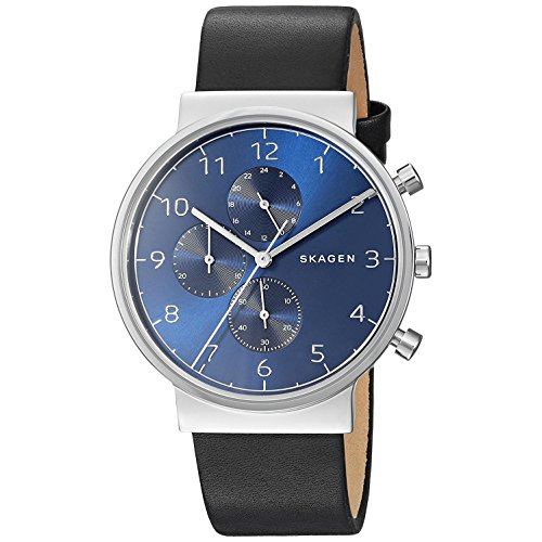 Skagen Herren Chronograph Quarz Uhr mit Leder Armband SKW6417