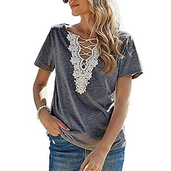 MAKARTHY Deep V Neck T Shirts Women Short Sleeve Sexy Casual Summer Lace Crochet Tee Tops Dark Grey XL