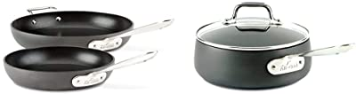 All-Clad HA1 Hard Anodized Nonstick Fry Pan Cookware Set, 10 inch and 12 inch Fry Pan, 2 Piece, Black & HA1 Hard Anodized Nonstick Dishwasher Safe PFOA Free Sauce Pan Cookware, 2.5-Quart, Black