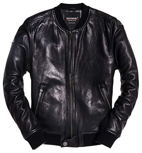 Superdry Men's Leather Flight Bomber, Black, S