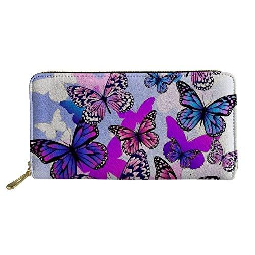 Cartera Multifuncional Monedero Billetera Tarjetero Poliuretano de Moda con Cierre Cremallera para Dama Diseño Mariposa Multicolor