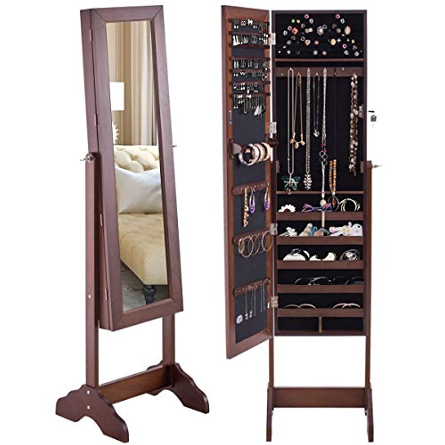 Giantex Jewelry Cabinet Armoire with Mirror Lockable, Large Storage 126 Ring Slot 1 Scarf Rod 1 Ponch 24 Hooks Bedroom Adjustable Organizer Box, Mirrored Standing Jewelry Armoires w/ 2 Bottom Cabinets