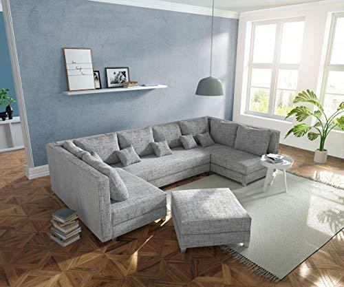 DELIFE Couch Panama Hellgrau mit Hocker Wohnlandschaft modular