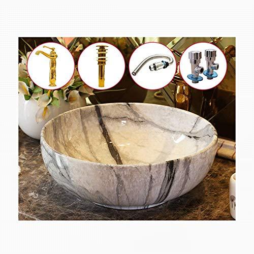 QULONG Mobili lavabo/mobili da Bagno Lavabo da appoggio Rotondo Moderno Lavabo da appoggio in Marmo Motivo in Marmo Lavabo da appoggio in Ceramica, lavabo da appoggio 16x6 Pollici Lavabo da appog
