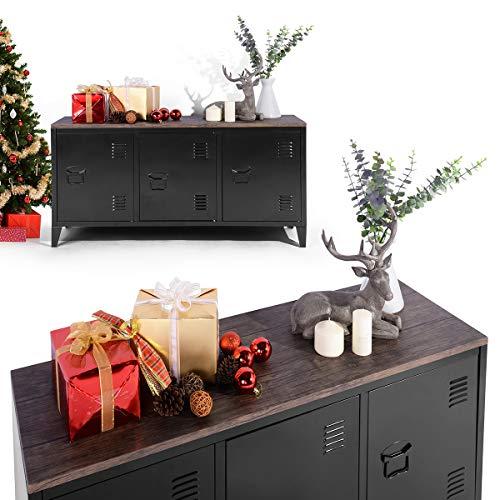 Furnish 1 TV-Schrank aus Metall und MDF Lagerschrank mit 3 türen für Wohnzimmer - schwarz
