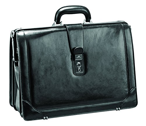 "Mancini Italian Leather 17"" Laptop Lawyer's Briefcase - Black"