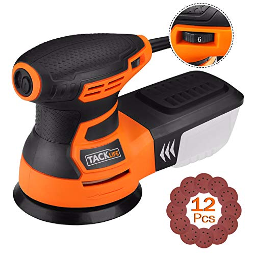 TACKLIFE 5-Inch Random Orbit Sander 3.0A with 12Pcs Sandpapers, 6 Variable Speed 13000RPM Electric Sander, High Performance Dust Collection System, Sanders for Woodworking - PRS01A