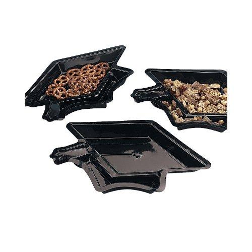 Fun Express - Black Graduation Cap Disposable Dishes for Graduation - Party Supplies - Serveware & Barware - Serving Platters - Graduation - 12 Pieces