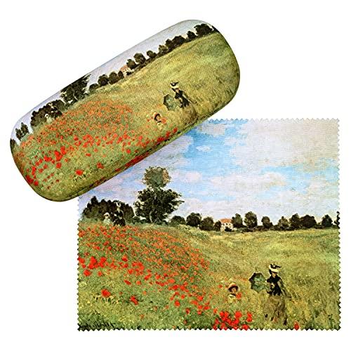 VON LILIENFELD VON LILIENFELD Brillenetui Claude Monet: Mohnblumenfeld Blumen Kunst Brillenputztuch Brillenbox Stabiles Hardcase Set mit Putztuch
