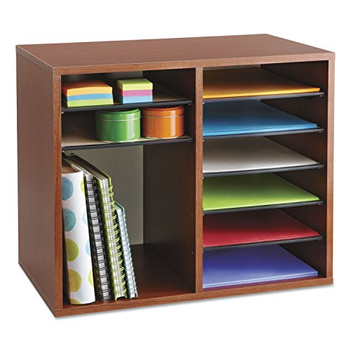 Safco Products 9420CY Wood Adjustable Literature Organizer, 12 Compartment, Cherry