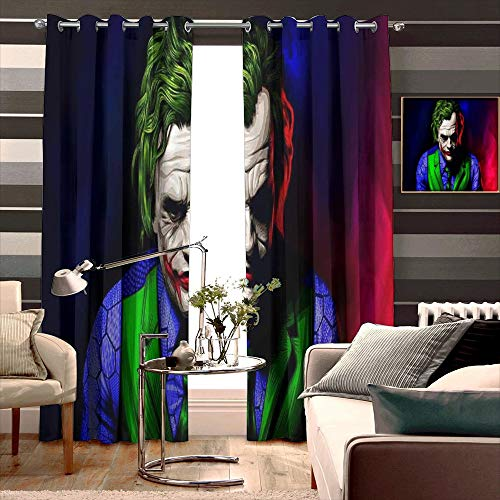 Loruoaine Thermal Insuated Curtain Panels Art of Joker New Pop for Kid's Bedroom Bathroom Kitchen Small Window Width 140cm x HIGH 160cm