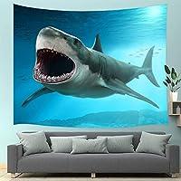 GOOESING タペストリー リビングルーム用 ホオジロザメ 海洋生物 深海の動物 おしゃれなタペストリー 壁掛け装飾