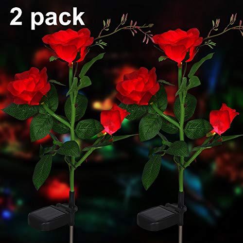 Rose Blume Solarleuchte Outdoor Spazierweg Garten Dekoration Leuchte Solar Blumen Garten Pfahllichter Pefekt Für Terrasse Hof Weihnachten Pfad Dekro (Rote Rose, 2 PCS)