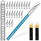 1PCS Exacto Knife Hobby Knife with Safety Cap and Craft Ruler and 20PCS Exacto Blades for Crafting and Cutting Carving Scrapbooking Art Work Cutting (Blue)