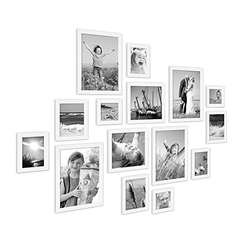 PHOTOLINI 15er Set Bilderrahmen Modern Weiss aus MDF 10x15 bis 20x30 cm inklusive Zubehör zur Gestaltung Einer Collage/Bildergalerie