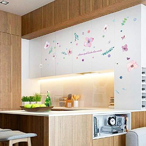 Muursticker met romantische bloemen, 3D, van PVC, eenvoudig te plakken, voor keuken, woonkamer, woonkamer, woondecoratie, verbleekt niet lang.