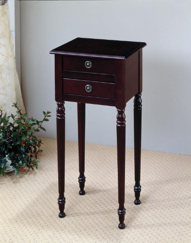 Traditional Cherry Finish Plant Stand / Side Table with Storage