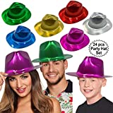 Anapoliz Party Gangster Hats 24 pcs | Metallic Assorted Colors, Plastic Fedora Party Hats for Kids, Adults | Costume, Dress Up, Photo Booth Parties