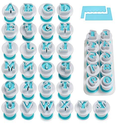 FANGSUN Alphabet & Numbers Fondant Cake Mold, Cookie Stamp Impress, Embosser Cutter, Upper Case Numbers Shape DIY Cookie Biscuit with 2 Cake Scraper