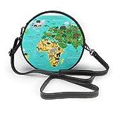 mappa del mondo con animali e uccelli borsa a tracolla rotonda borsa in pelle pu borsa a tracolla per donna