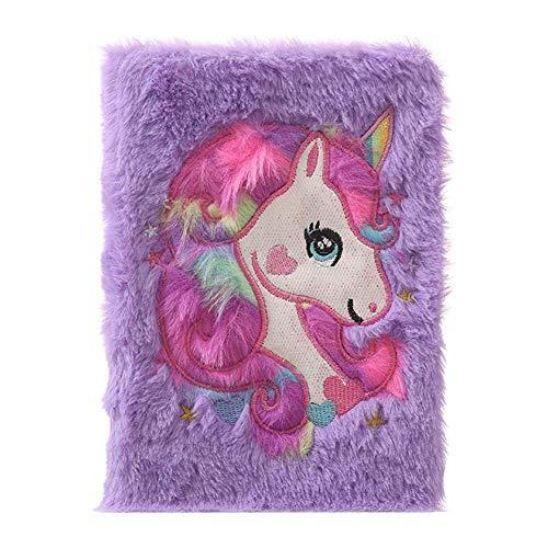 Tiyila Peluche Esponjoso Colorido Unicornio Libreta Tapa Dura Animal Lindo Diseño Cuaderno - PP