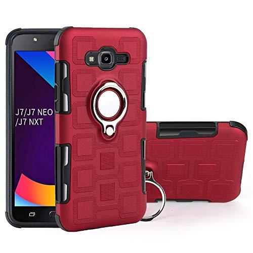 QiongniAN Funda para Samsung SM-J701F Galaxy J7 Core 2017 / SM-J701F/DS Galaxy J7 NXT 2017 / SM-J701M/DS Galaxy J7 Neo/SM-J701MT Funda Case Cover 360 Grados Anillo magnético Giratorio de Metal