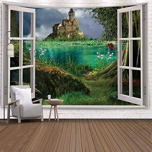 KHKJ Tapiz de Ventana Vista Planta Verde Flores de mar 3D Colgante de Pared Alfombra Manta Colcha Toalla de Yoga Inicio Decoración de la Pared de la Playa A10 200x150cm