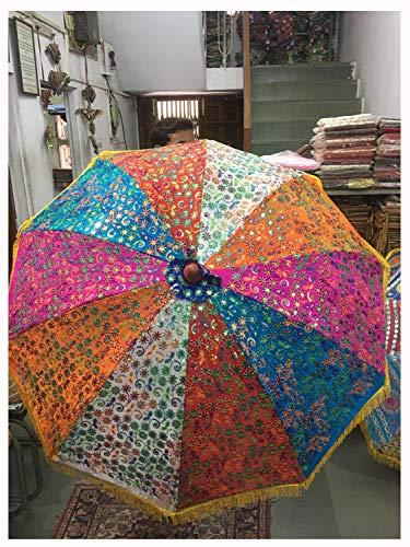 Varghoda Regenschirm, fein, handgefertigt, mehrfarbig, Zari-bestickt, Patchwork-Stoff, dekorativer Gartenschirm, bunt