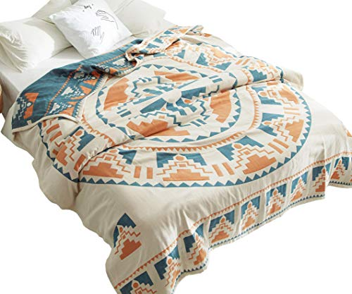 MEJU Sun God Boho Geometric Reversible Bed Blanket, Jacquard Cotton Quilt Throw Blanket for Bed, Couch & Sofa, Lightweight & Breathable Vintage Summer Bedding Coverlet (1, Twin 59' X 78')