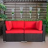 Patio PE Wicker Couch, 2-Seat Outdoor Black Rattan...