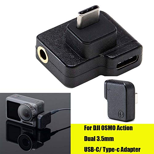 HSKB Action Charging Audio Adapter Accessoires voor DJI OSMO Action Accessoires Dual USB-C op 3,5 mm microfoon Adapter