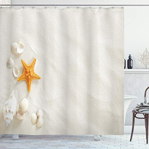 """Ambesonne Seashells Shower Curtain, Beach with Lots of Seashells and Yellow Starfish Marine Nature Sand, Cloth Fabric Bathroom Decor Set with Hooks, 84"""" Long Extra, Turquoise Coconut"""