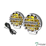 Topline Autopart Universal 6' Pair Round Yellow Crystal Clear Driving Fog Lights Lamps For Bumper Hood Work Bull Bar 4x4 Off Road Roof Rack Utility Cross Bar mount jeep/van/truck/suv/pickup/cars