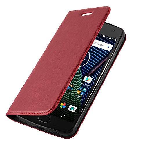 Cadorabo Hülle für Motorola Moto G5 in Apfel ROT - Handyhülle mit Magnetverschluss, Standfunktion & Kartenfach - Hülle Cover Schutzhülle Etui Tasche Book Klapp Style