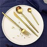 JIEHUSHI Juego de Cubiertos de Acero Inoxidable 4 Piezas Cuchillo Negro Juego de Tenedores Vajilla Cubiertos de Plata Dorada Juego de Comida Occidental Gold