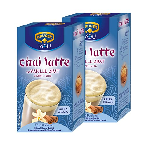 Krüger Chai Latte Classic India, Vanille-Zimt, mildes Milchtee Getränk, 2er Pack, 2 x 10 Portionsbeutel