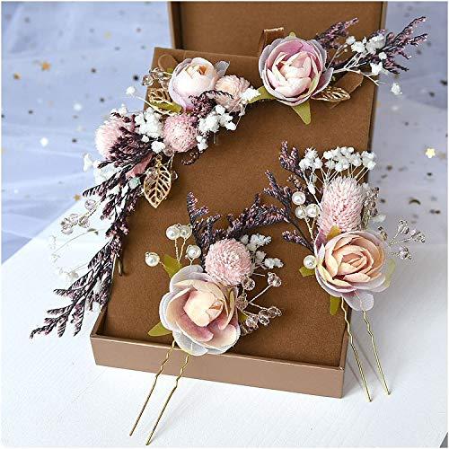 weichuang Tiaras para novia Mori tocado de encaje seco con flores de...