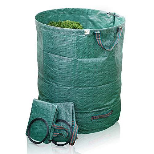 TTL Garden Gartensäcke 3er Set 272l - Gartensack 4 Griffe extra robust + faltbar, selbststehender Sack Behälter für Gras Laub Gartenabfall Grünschnitt