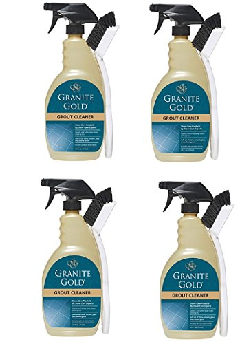 Granite Gold Grout Cleaner And Scrub Brush - Acid-Free Tile And Grout Cleaning For Dirt, Mildew, Mold - 24 Ounces (4 pack)