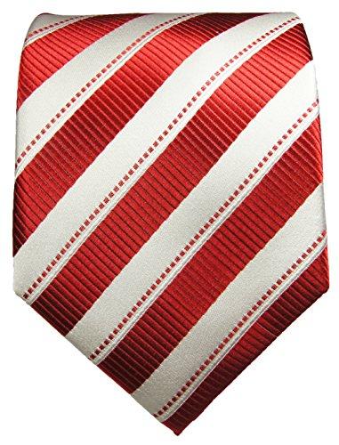 Cravate rouge rayé ensemble de cravate 3 Pièces (100% Soie Cravate + Mouchoir + Boutons de manchette)