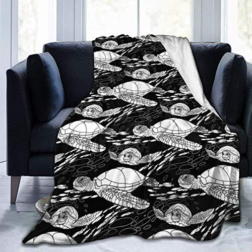 VVGETE Cobija White Turtle Black Bubble Home 204X153Cm Manta De Tiro para El Hogar Lujo Suave Navidad Todas Las Estaciones Invierno Durable Coche Cama Cálida Manta De Lana Couch Cosy Lig