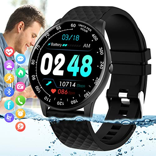 Peakfun Smart Watch,Fitness Tracker Watch with Heart Rate Blood Pressure Monitor IP67 Waterproof Bluetooth Smartwatch Smart Sports Activity Tracker for Men Women Kids Compatible Android iOS Phones