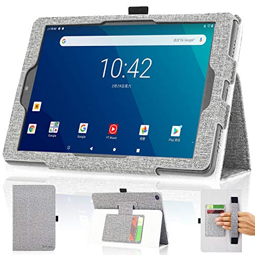 """DMLuna Case for Onn. 8"""" Tablet(2020 Model:100011885 / 2019 Model:ONA19TB002) ONLY, Folio Premium Leather Cover Case with Hand Strap / Card Slot(NOT FIT Onn 8 Tablet Pro Model:100003561), Grey"""