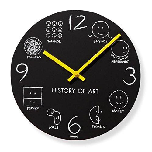 MOMA Wanduhr History of Art, MDF, Aluminium-Zeiger, Quarz-Uhrwerk, schwarz, 4 x 25 x 25 cm