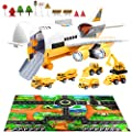 Car Toys Set with Transport Cargo Airplane and Large Play Mat, Educational Vehicle Construction Car Set for Kids Toddler Boys Child Gift for 3 4 5 6 Years Old, 6 Cars, Large Plane, 11 Road Signs from Forty4