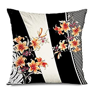 CUKENG Throw Pillow Cover Square 45x45CM Nature Colorful Geometric Silk Scarf Pattern Botanical Flower Winter Abstract Summer Leaf Rose Cushion Case Home Decor Zippered Sofa Pillowcase