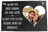 wandmotiv24 Schieferplatte mit Aufhängung personalisiert mit Foto, Spruch, 30x20cm (BxH), personalisierte Geschenke zum Valentinstag, Hochzeit, Jahrestag, Geschenkidee für Ihn und Sie M0088