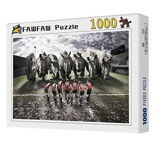 Puzzles 1000 Piezas, Equipo De Rugby Rinocerontes Collage Puzzle